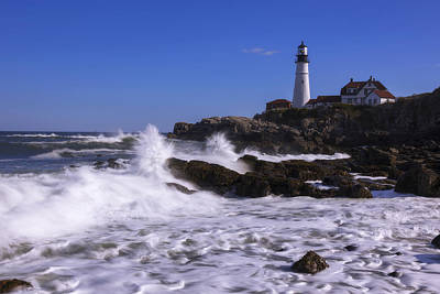 Raging Photograph - Portland Head Light I by Chad Dutson