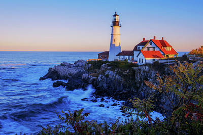 Waves Photograph - Portland Head Light II by Chad Dutson