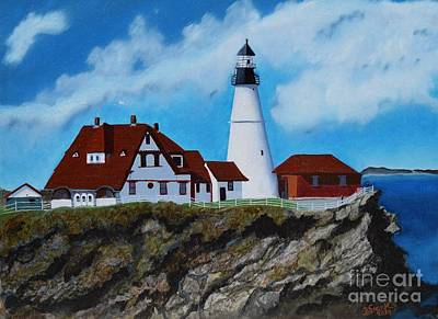 Portland Head Light In Maine Viewed From The South Art Print