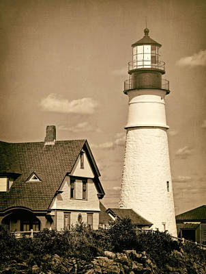 Photograph - Portland Head Light In Sepia by Carolyn Derstine