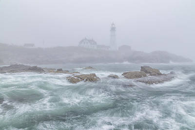 Portland Head Light In The Fog Art Print by Stephen Beckwith