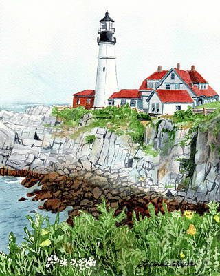 Painting - Portland Head Light, Lighthouse Painting, Lighthouse Print, Maine Lighthouse, by LeAnne Sowa