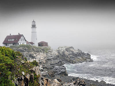 Portland Head Light On A  Foggy Day Print by Brendan Reals