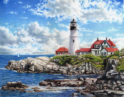 Drawing - Portland Head Light by Shana Rowe Jackson