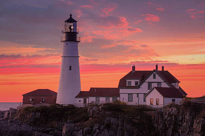 Photograph - Portland Head Light Sun Set  by Emmanuel Panagiotakis