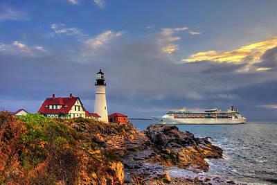 Photograph - Portland Head Light Sunrise With Cruise Ship by Joann Vitali