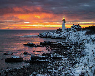 Photograph - Portland Head Light Winter Glow by Benjamin Williamson