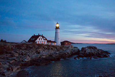 Photograph - Portland Head Lighthouse At Dawn by Allan Morrison