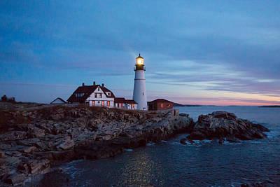 Photograph - Portland Head Lighthouse At Dawn by Allan Morrison