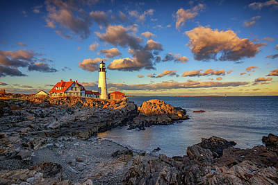 Photograph - Portland Head Lighthouse At Sunset by Rick Berk