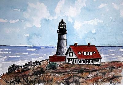 Lighthouses Painting - Portland Head Lighthouse by Derek Mccrea