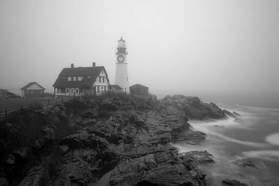 Portland Head Lighthouse In Fog Black And White Art Print