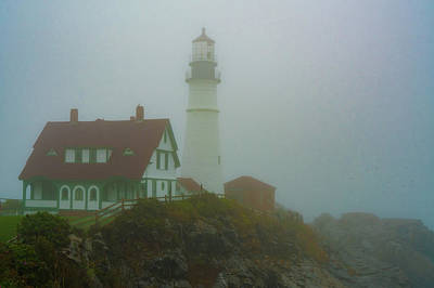 Photograph - Portland Head Lighthouse In Mist by Chris Lord
