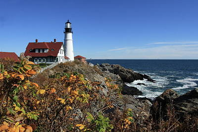 Portland Head Lighthouse In The Fall Art Print by Lou Ford