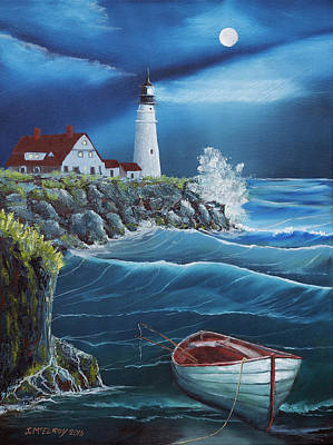 Portland Head Lighthouse Painting - Portland Head Lighthouse by Jerry McElroy