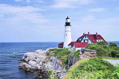 Painting - Portland Head Lighthouse by Joe Sparks