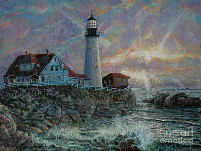 Portland Head Lighthouse Painting - Portland Head Lighthouse by LeRoy Jesfield