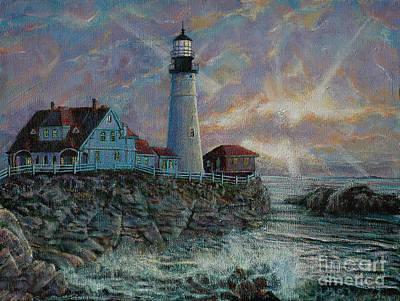 Painting - Portland Head Lighthouse by LeRoy Jesfield