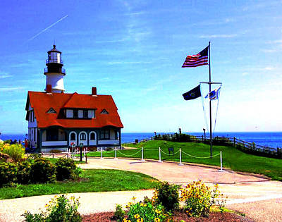 Photograph - Portland Head Lighthouse Maine--crop by Bob Johnson