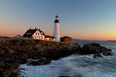 Photograph - Portland Head Lighthouse Sunrise by Betty Pauwels