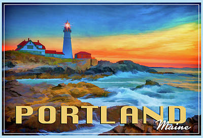 Portland Head Lighthouse Vintage Travel Poster Art Print