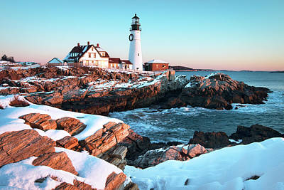 Scenic Landscape Photograph - Portland Head Lighthouse Winter Sunrise by Eric Gendron