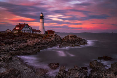 Portland Lighthouse Photograph - Portland Head Sunset by Darren White