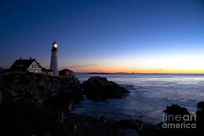 Photograph - Portland Headlight Blue Hour by Kimberly Nyce