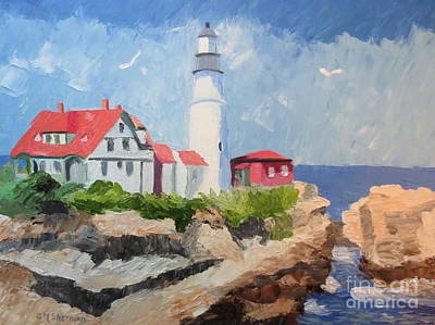 Painting - Portland Headlight By The Sea by Stella Sherman