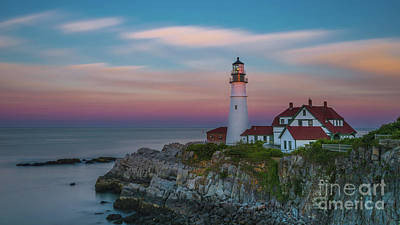 Photograph - Portland Headlight Evening Colors by Jerry Fornarotto