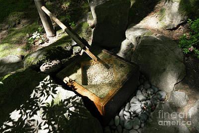 Photograph - Portland Japanese Garden Sozu Water Fountain Portland Oregon Dsc6707 by Wingsdomain Art and Photography