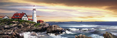 Maine Lighthouses Painting - Portland Lighthouse by Brent Borup