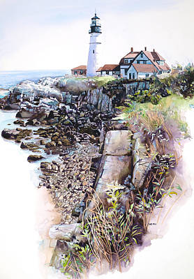 Mike Hill Painting - Portland Lighthouse by Mike Hill
