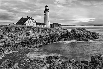 Photograph - Portland Lighthouse Sunrise Bw by Susan Candelario
