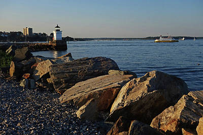 Photograph - Portland Maine Bug Light Park Rocks by Toby McGuire