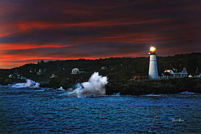 Red Photograph - Portland Maine Historic Lighthouse At Sunrise by Russ Harris