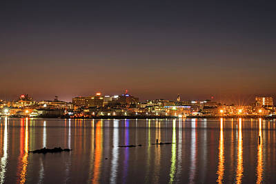 Photograph - Portland Maine Skyline At Dusk Portland Me by Toby McGuire