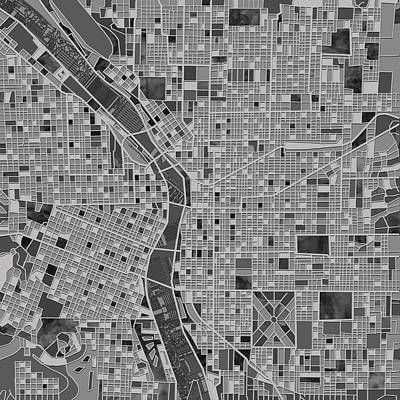 Painting - Portland Map Black And White by Bekim Art