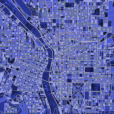 Painting - Portland Map Blue by Bekim Art