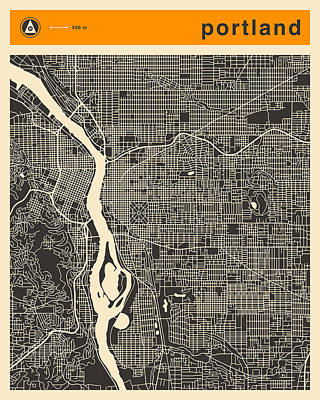 Portland Art Digital Art - Portland Map by Jazzberry Blue