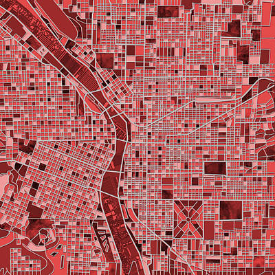 Painting - Portland Map Red by Bekim Art