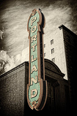 Sign Photograph - Portland Marquis by Danielle Denham