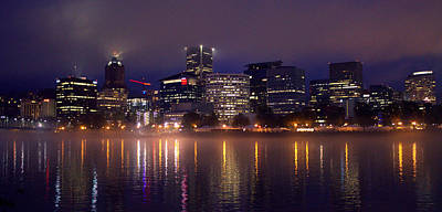 Photograph - Portland Night Skyline by Joseph Skompski