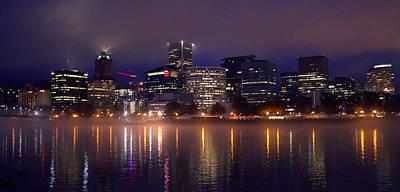 Photograph - Portland Night Skyline by Joseph Skompski