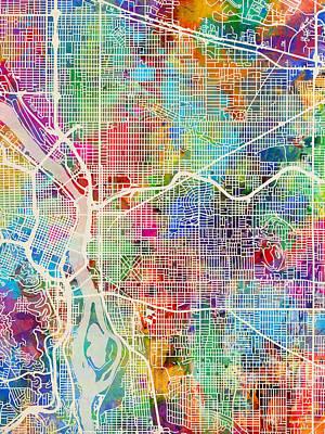 Wall Art - Digital Art - Portland Oregon City Map by Michael Tompsett