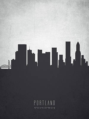 Grunge Painting - Portland Oregon Cityscape 19 by Aged Pixel