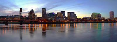 Portland Oregon Panorama At Dusk. Print by Gino Rigucci