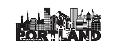 Photograph - Portland Oregon Skyline And Text Black And White Illustration by Jit Lim