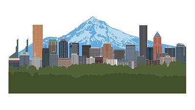 Digital Art - Portland Oregon Skyline Color Illustration by Jit Lim