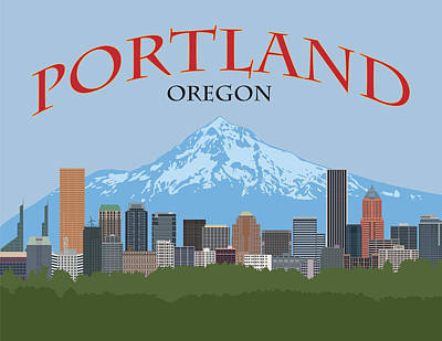 Digital Art - Portland Oregon Skyline Poster Illustration by Jit Lim